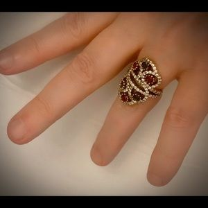Double Crown Exquisite Ruby Emerald Silver Ring